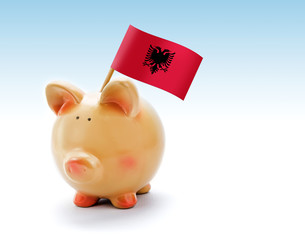 Piggy bank with national flag of Albania