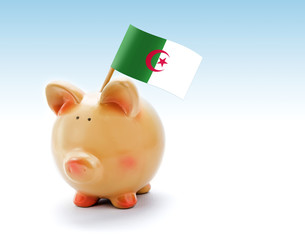 Piggy bank with national flag of Algeria
