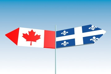 canada and quebec politic problem, flag on road signs