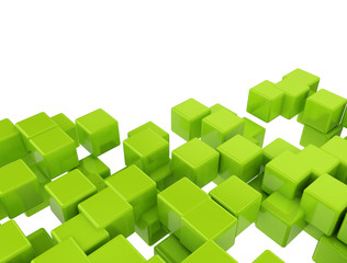 Green 3d cubes isolated on white