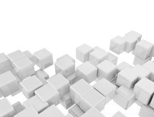Abstract digital 3d white cubes