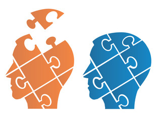 Puzzle heads symbolizing Psychology