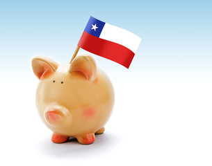 Piggy bank with national flag of Chile