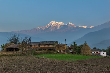 Sunrise in annapurna range (himalaya) from a small village Nepal