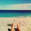 canvas print picture - feetfie on the beach