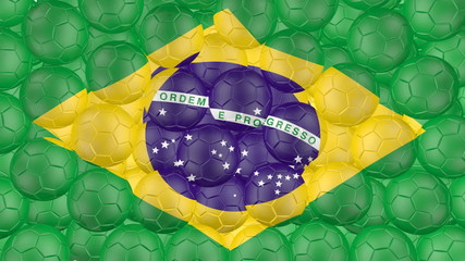 Soccer balls is falling down and forming a Brazilian flag