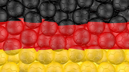 Soccer balls is falling down and forming a german flag