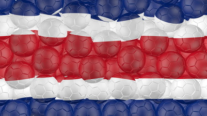 Soccer balls is falling down and forming a costa rica flag