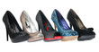 canvas print picture - Five pair shoes of high heels