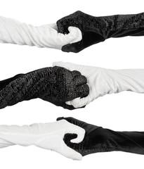 Conceptual symbol of yin-yang elegant women's gloves with rhines