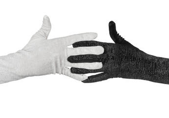 Black and white  elegant women's gloves with rhinestones