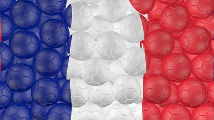 Soccer balls is falling down and forming a france flag