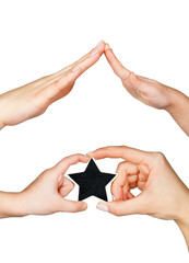 Women's and children's hand keep a star