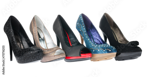 canvas print picture Five pair shoes of high heels