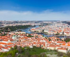 View of Charles Bridge over Vltava river, Prague