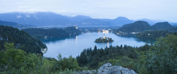 Bled Lake panorama in Julian Alps