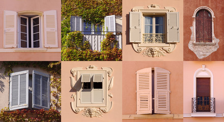 collage set of windows from Europe