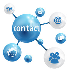 CONTACT Globes (icons symbols buttons support service)