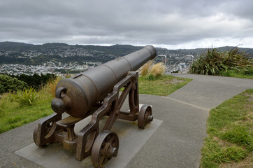 Old bronze cannon on mount Victoria in Wellington