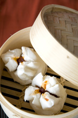 close up dimsum tray open