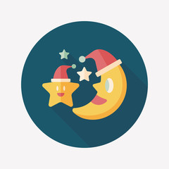 moon and star with Christmas hat flat icon with long shadow, eps