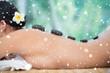 Zdjęcia na płótnie, fototapety, obrazy : Beautiful brunette enjoying a hot stone massage