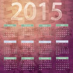 Calendar for 2015 on white background.Wedding card or invitation