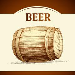 beer keg for label, package.vintage barrel
