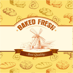 bakery bread. seamless background pattern. labels pack