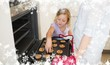 Composite image of girl with mother baking cookies
