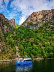 A ferry boat in Norwegian fjord