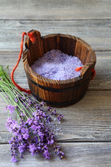 fresh lavender and salt in a wooden bucket