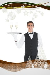 Composite image of young waiter presenting a silver tray