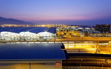 Hong Kong International Airport at the evening