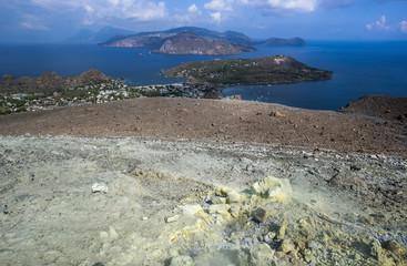 volcano activity and Lipari island, eolie, sicily, italy