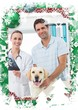Composite image of pet owner and vet with xray of dog