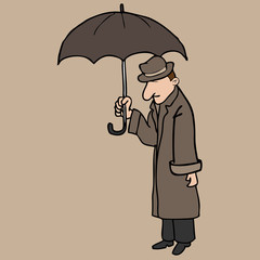 Man over coat umbrella