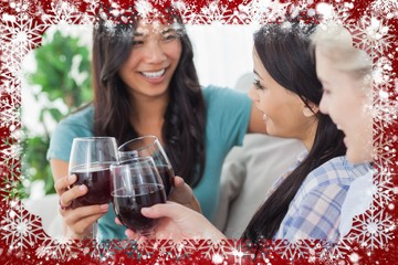 Chatting friends having red wine together