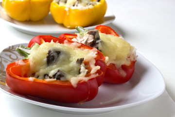 Stuffed Peppers with Rice,Cheese and Mushrooms