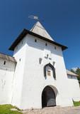 Entrance tower of ancient Pskov Krom or Kremlin. Russia poster