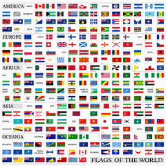 World flags with official proportions, by continents