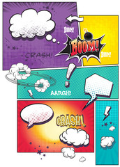 comic book pages with speech bubbles for text
