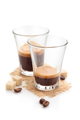 Ristretto and espresso. Isolated on white background.