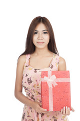 Beautiful Asian woman hold a red gift box