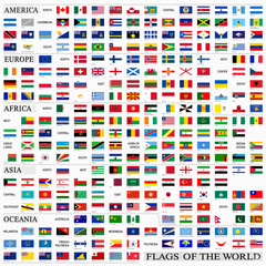 World flags with proportion 3:5, by continents