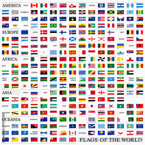 World flags with proportion 3:5, by continents - 70723290