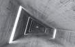 Abstract empty concrete interior, 3d render of pitched tunnel