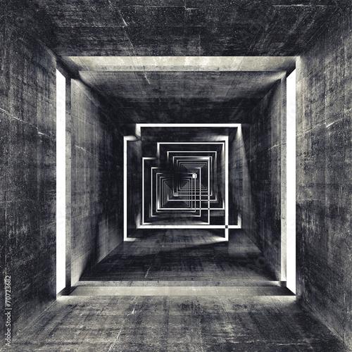Abstract square dark concrete tunnel interior, 3d background - 70723682
