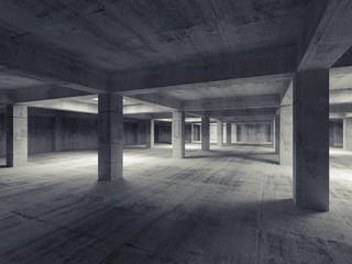 Empty dark abstract industrial underground concrete interior. 3d