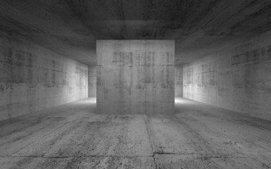 Empty room, abstract concrete interior. 3d render illustration
